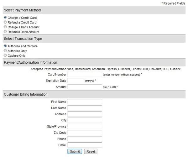 Authorize.net virtual terminal