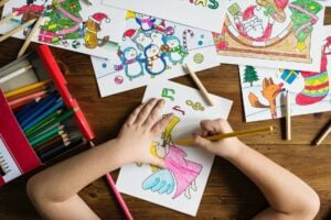 Child drawing coloring from subscription box