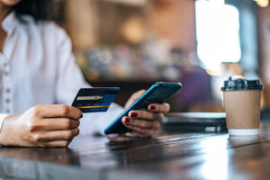customer using a card-not-present mobile payment gateway