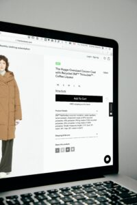 Laptop open to a clothing store's product page