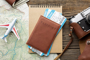 airline ticket and itinerary for travel