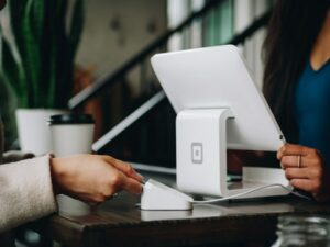 customer using a credit card terminal